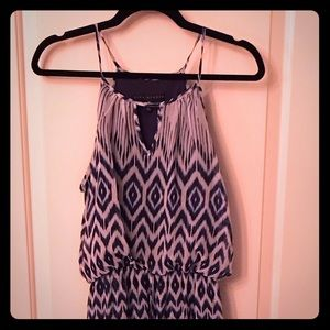 Patterned Maxi Dress w/Cinched Waist